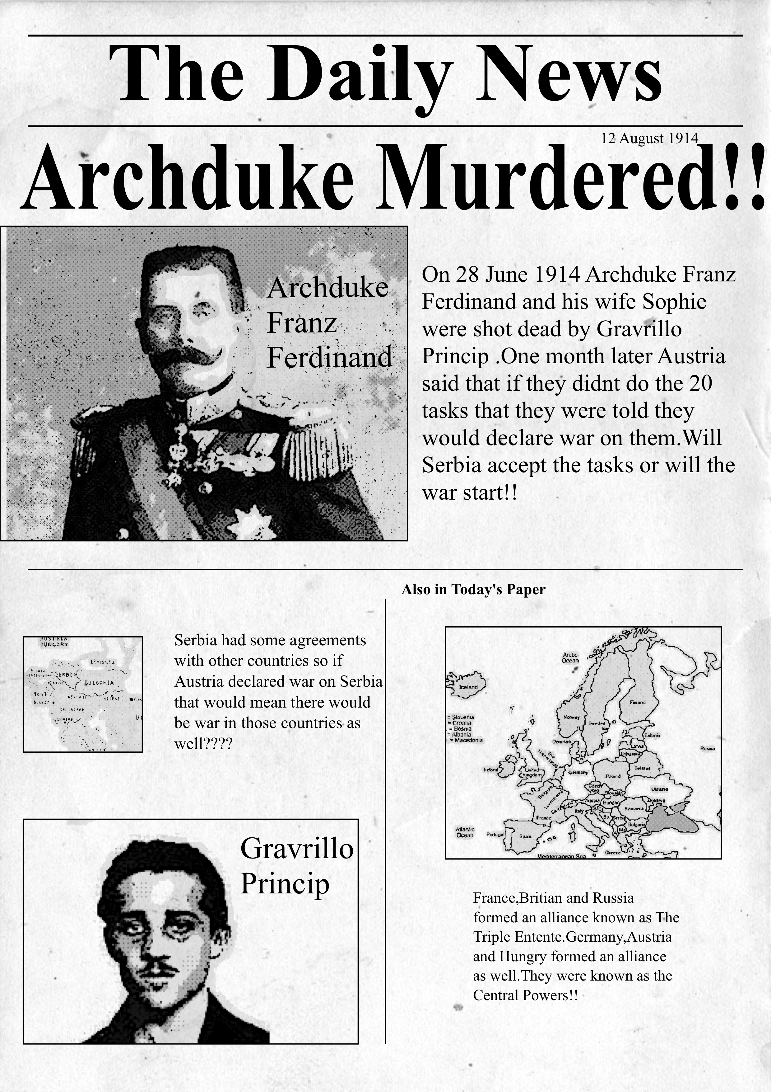 franz ferdinand newspaper articles 1914: archduke francis ferdinand fatally shot in sarajevo  that archduke  francis ferdinand, heir to the thrones of austria and hungary, and the duchess  of  article on the beginning of the russian revolution in petrograd.